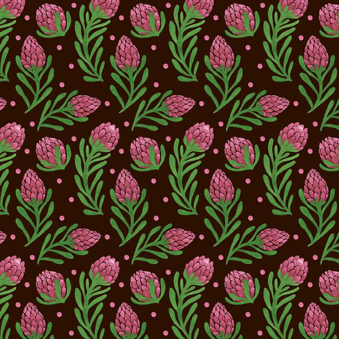 The Sweet Protea Pattern Watercolor Illustration by Haidi Shabrina