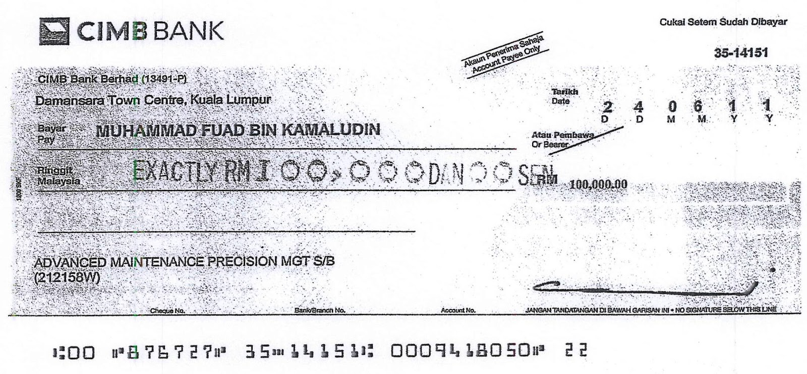 picture of cheque