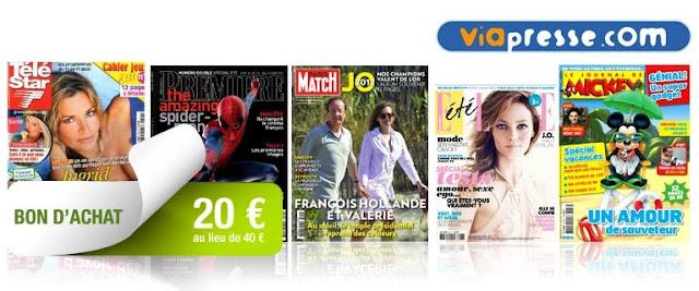 20 € le bon d'achat de 40 € pour un abonnement à un magazine papier