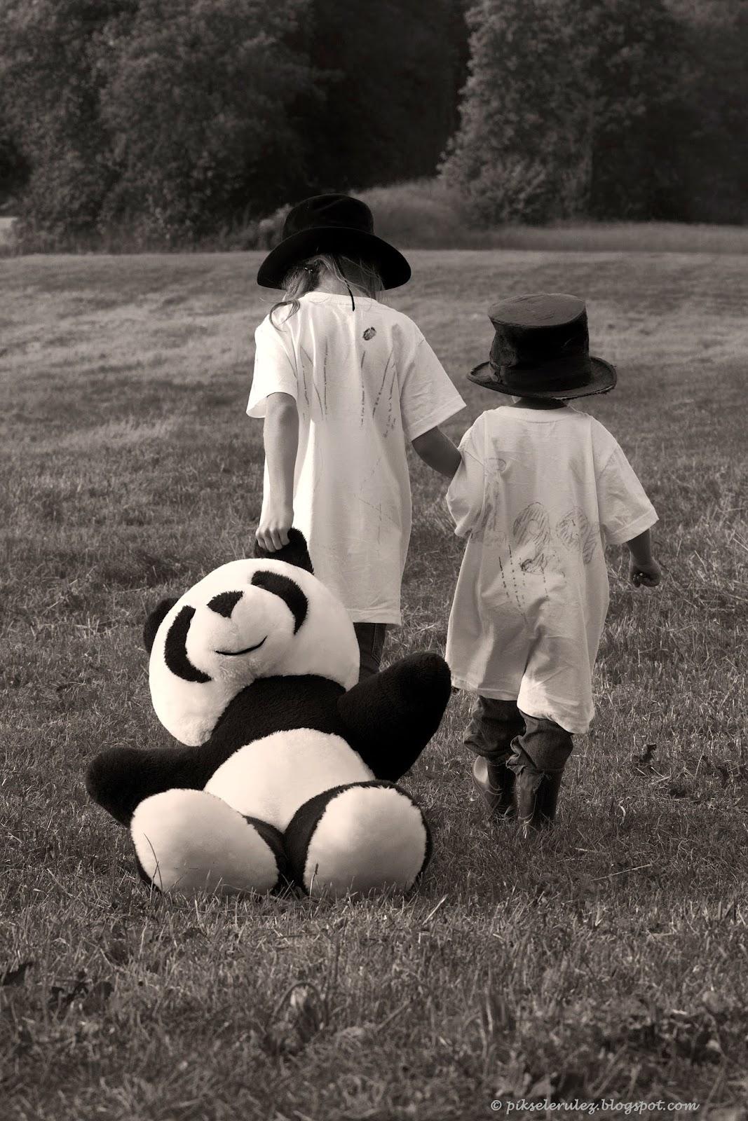 children, blackandwhite, kapelusze, panda