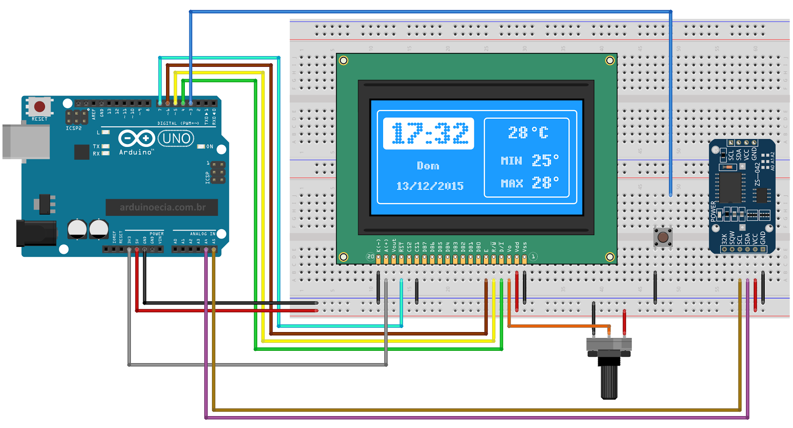Circuito Arduino display LCD 128x64 e DS3231