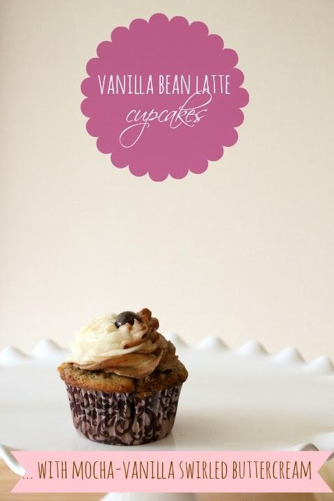 vanilla bean latte cupcakes with mocha-vanilla swirled buttercream.