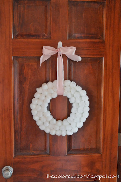 winter pom pom wreath - the colored door