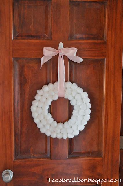 the colored door Winter Pom Pom Wreath