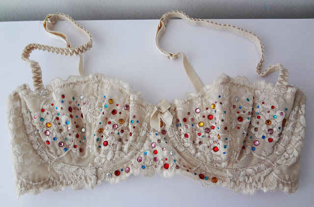 H&M lace bra with colorful rhinestones.