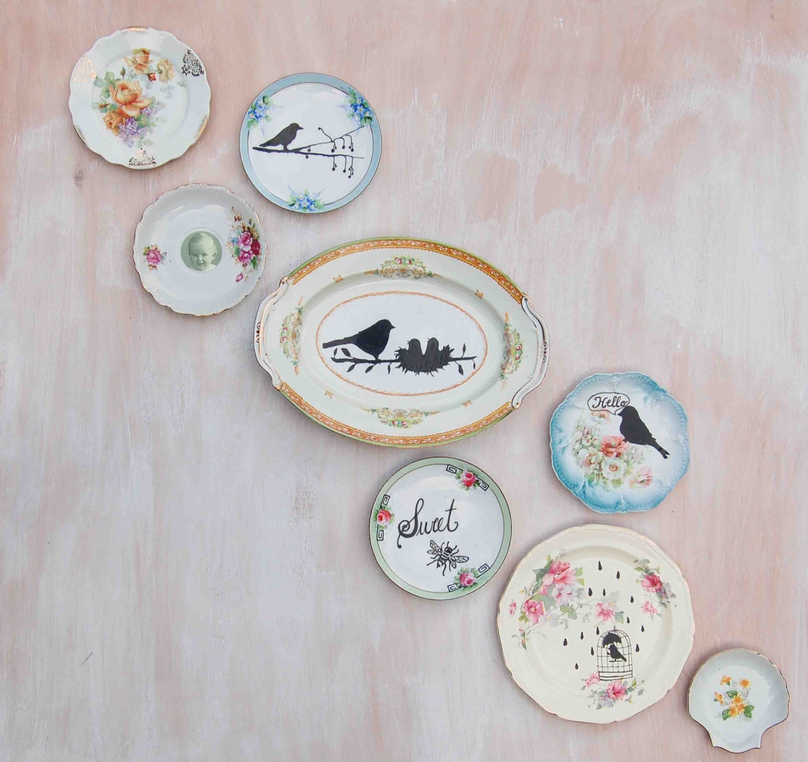 Blackbirds bumblebees vintage china wall art for Wall decor dishes