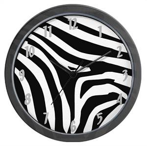 Black and White Zebra Print Wall Clock
