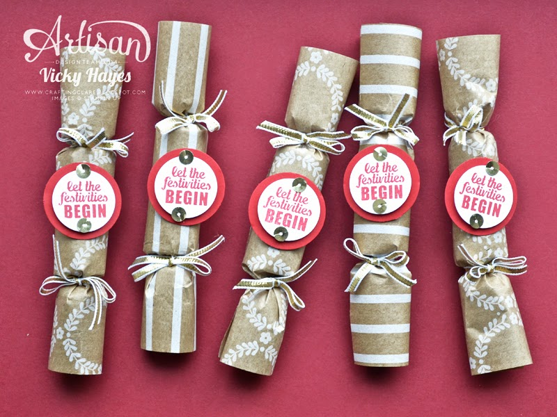 Cute mini crackers using Stampin' Up gift wrap