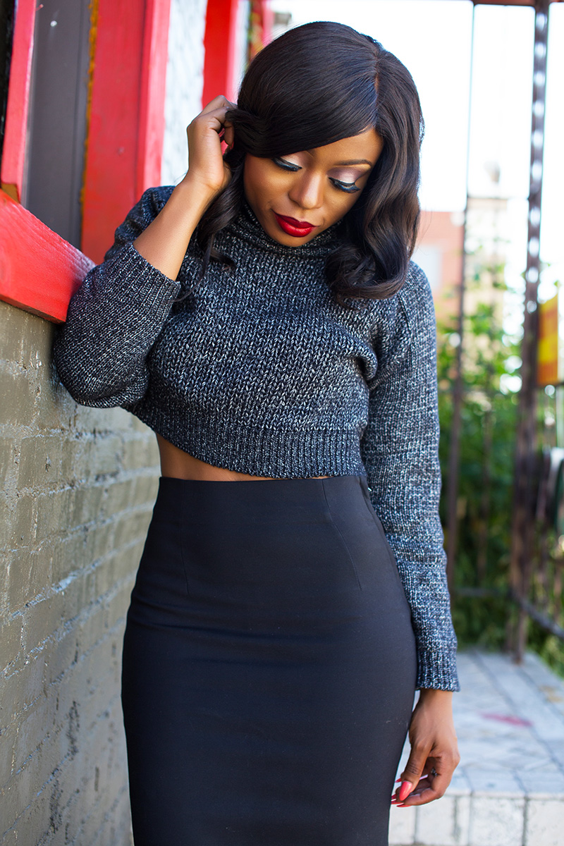 Work style, pencil skirt  and cable knit sweater