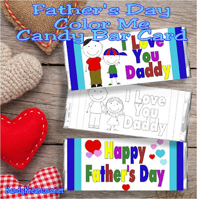 Celebrate dad with a free printable candy bar wrapper printable this Fathers day.  Color, wrap around a Hershey candy bar, and give to your favorite dad as a yummy Fathers Day card.