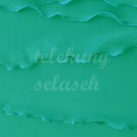 Telekung lycra hijau turquoise corak curly di tepi