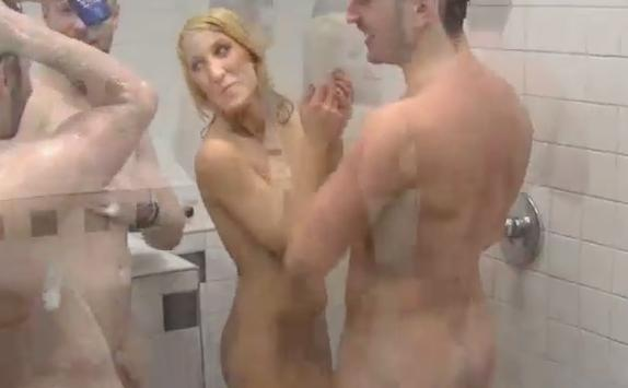 Naked girls and guys in shower