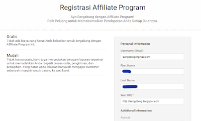 Halaman Registrasi Affiliate Program Blibli dan silahkan isi form Personal Information