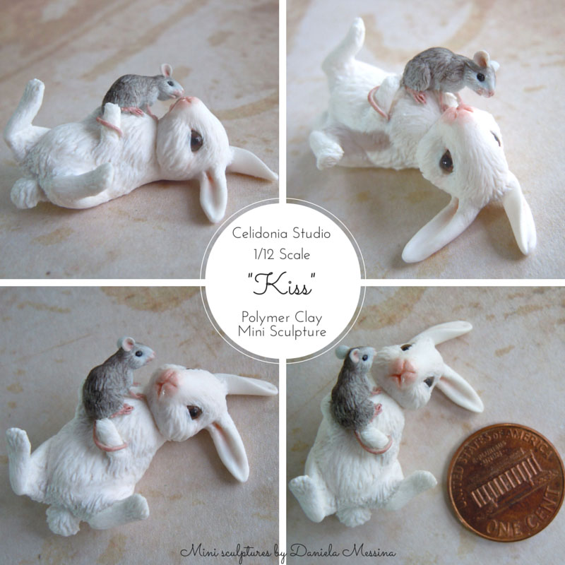 Rabbit and Mouse Kiss 1/12 - Polymer Clay Mini Sculpture by Daniela Messina