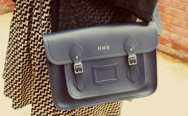 navy cambridge satchel with initials, plus size fashion blog