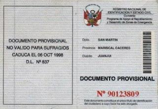 En 1997 se crea el Documento provisional de identidad (DPI)