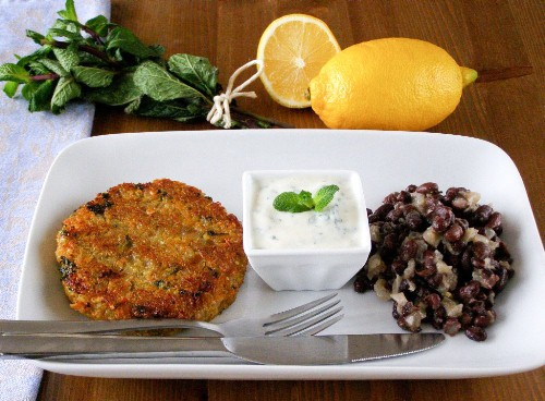 Spiced Quinoa and Sweet Potato Cakes with Lemon Mint Yogurt and Black Bean Salad