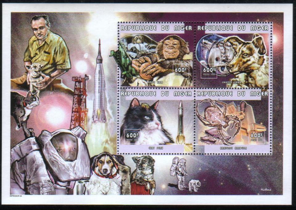 1999年ニジェール共和国 宇宙へ行った動物たちの切手シート
