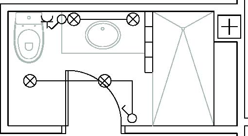 Iluminacion De Un Baño:Ejemplo de distribución de puntos de luz en un baño (Obra propia)