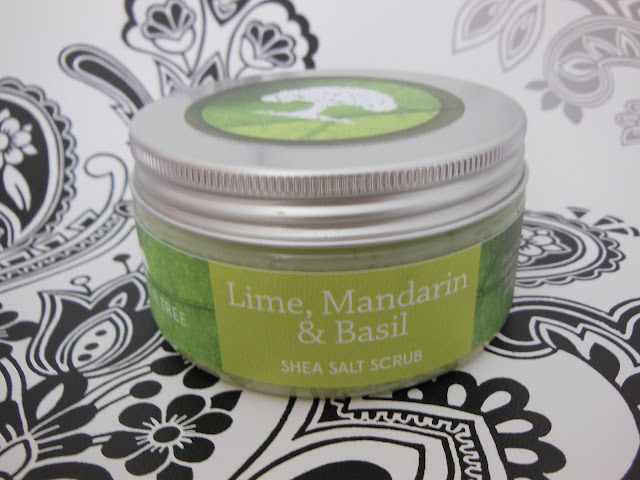Lime Mandarin and Basil shea salt scrub