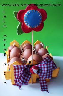 reciclagem com cartela de ovos