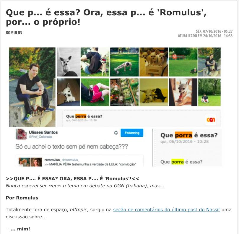 """>>R O M U L U S<< """"QUE ~ PORRA ~ É ESSA?!"""" Post sobre o meu estilo ~ peculiar ~ (clique na imagem)."""