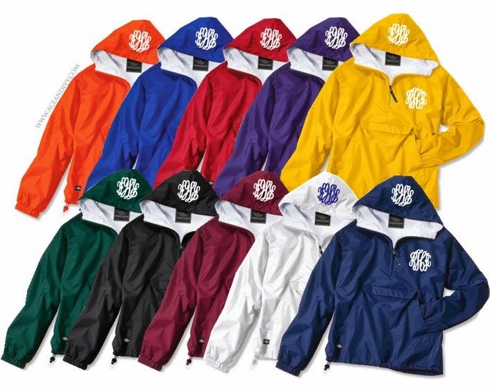Monogrammed Solid Pullover Rain Jackets