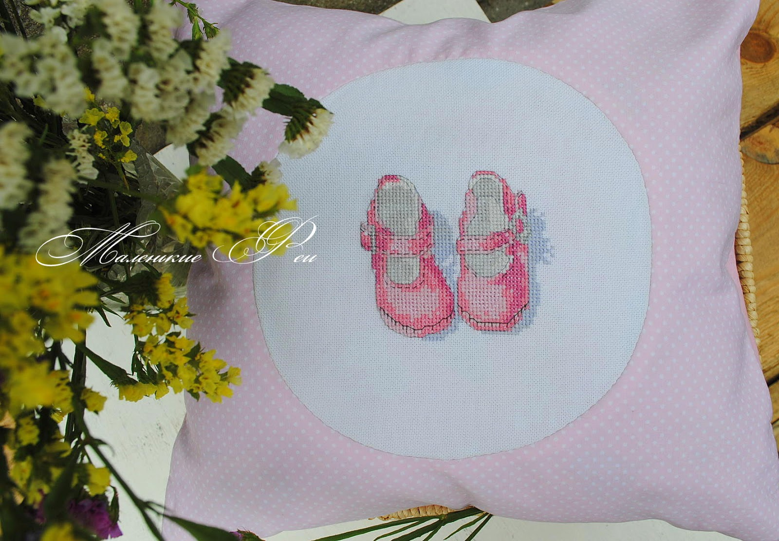 newborn, kids, baby, gift, sewing, embroidery, cross stitch, pink, girl, kids, buy, handmade, shoes, slippers, booties, natural, pillow, fairies, beautiful,