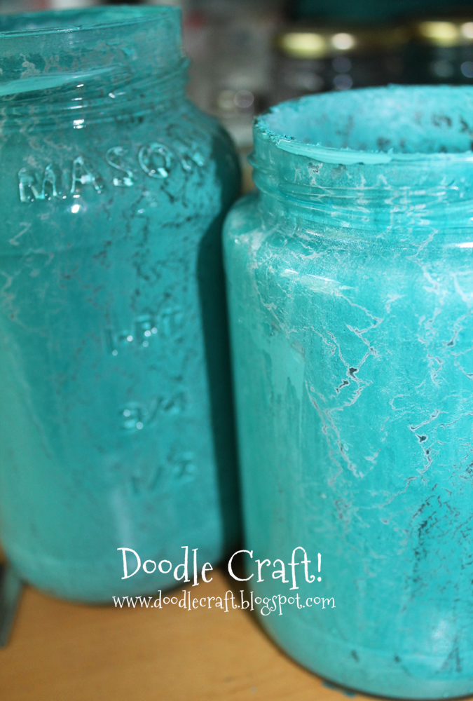 Doodlecraft crackle paint upcycled glass jars for Type of spray paint for glass