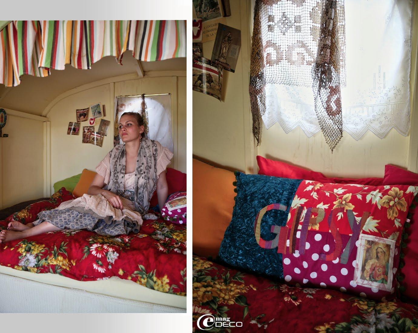 Silhouette romantique chez Gazoline, boutique femme à Montpellier. Coussin d'esprit Gipsy création 1 Quenelle sur 1 Mur...