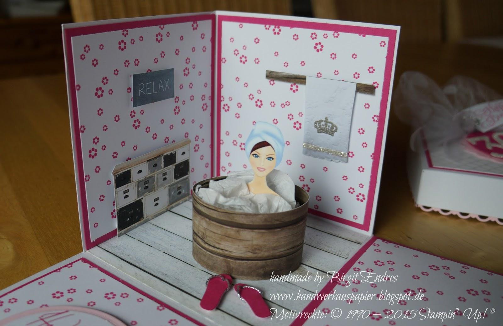 Handwerk aus papier wellness explosionsbox - Gutschein originell verpacken tipps oder ideen ...