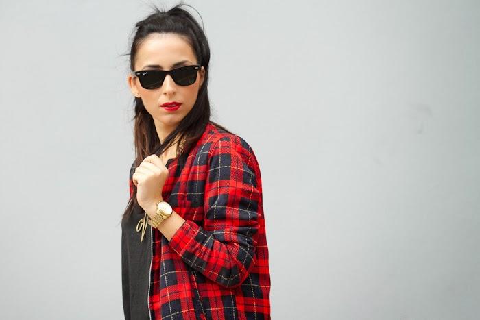Blogger Withorwithoutshoes inTartan Jacket and Zara tee