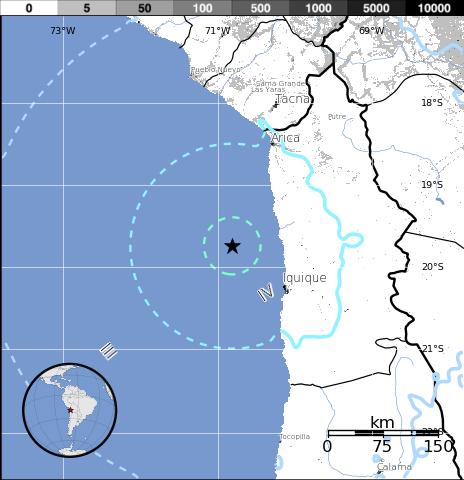 Epicentro sismo 6,1 grados Chile 23 de Marzo 2014