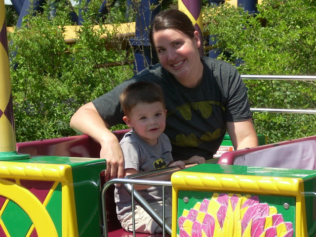 Mom and son on Six Flags roller coaster