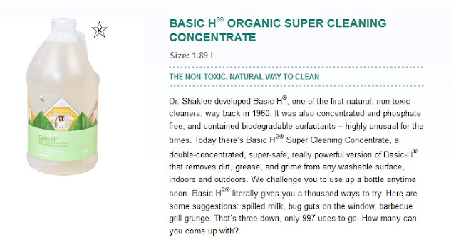 Shaklee Basic H Organic Cleaning Concentrate