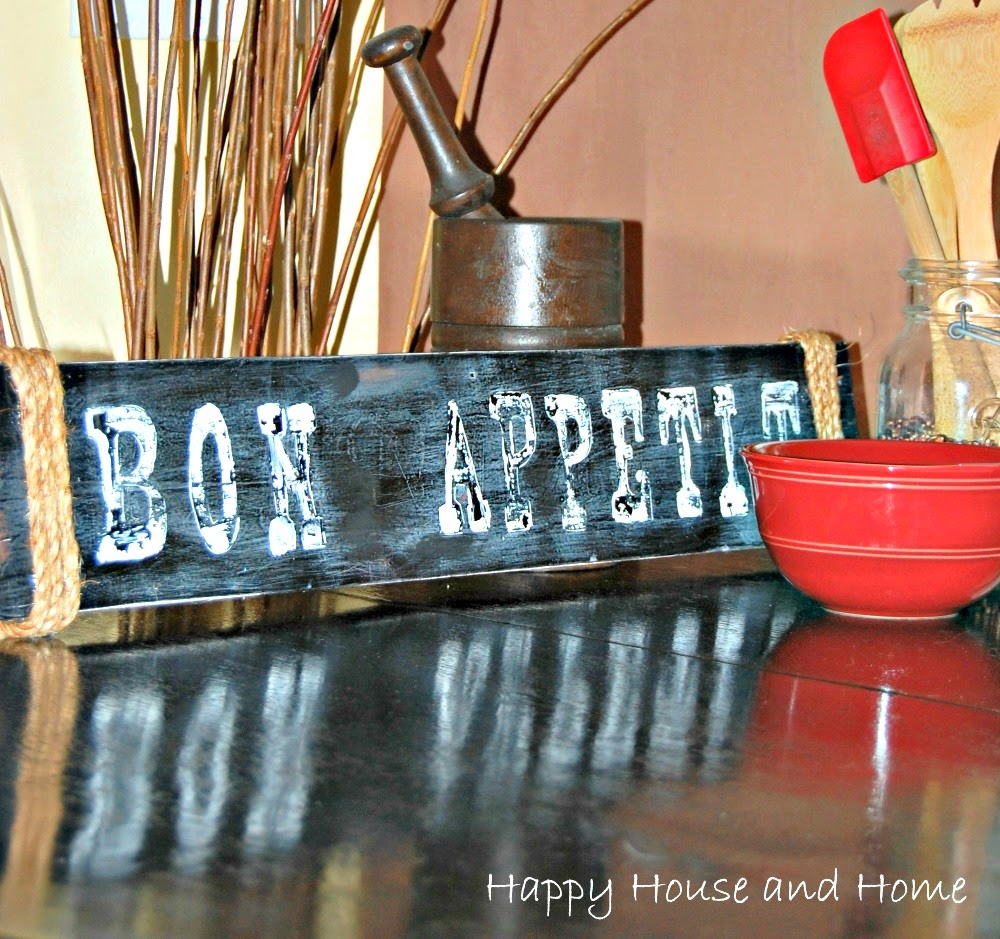 Simple Hand Painted Sign, Rustic sign, DIY rustic sign, Bon Appetit