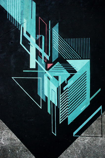 Abstract Street Art Mural By Seikon In Parchowo, Poland - Close Up