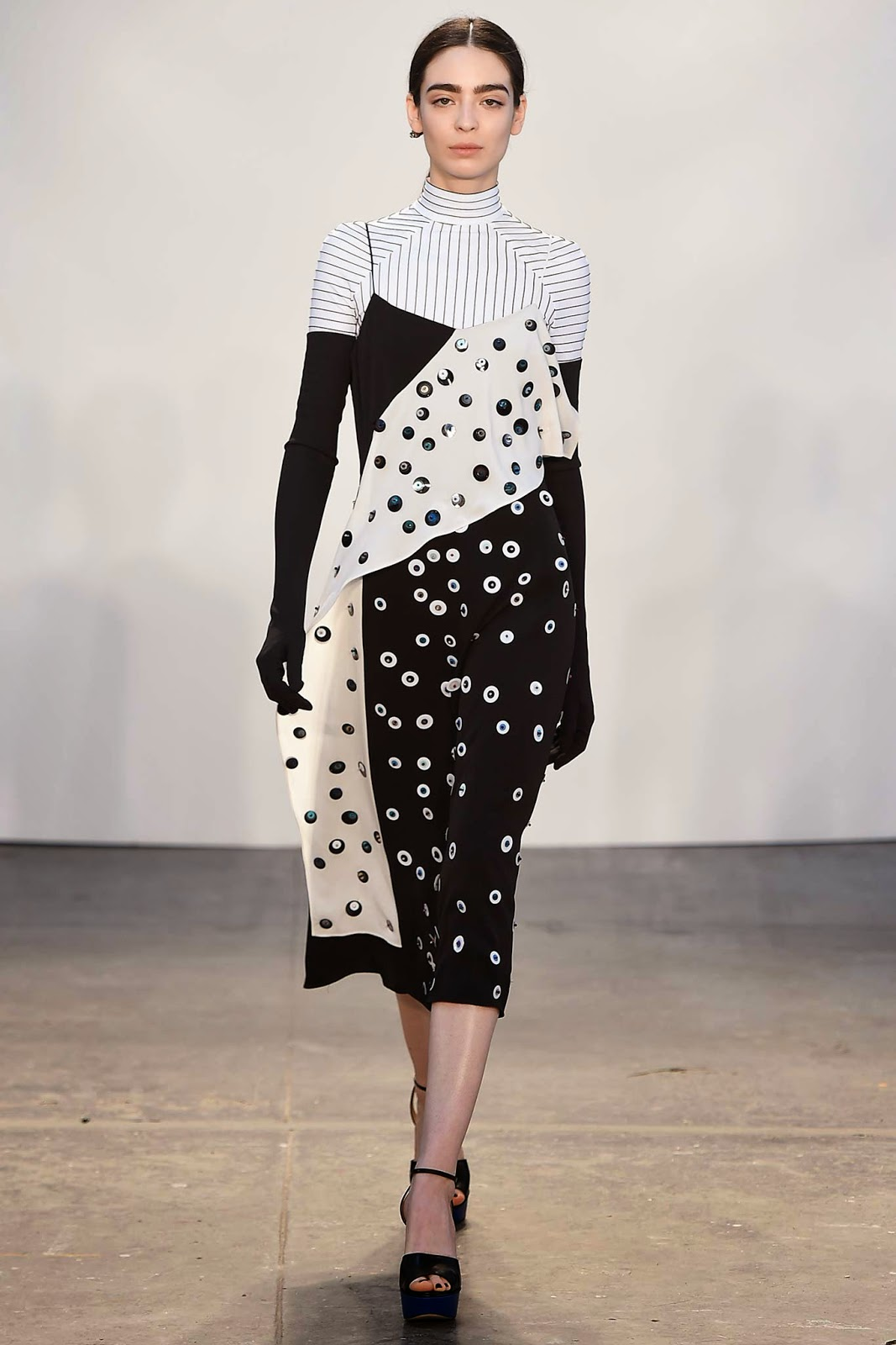 Tanya Taylor Fall Winter 2015 black and white dress with dots & circles print