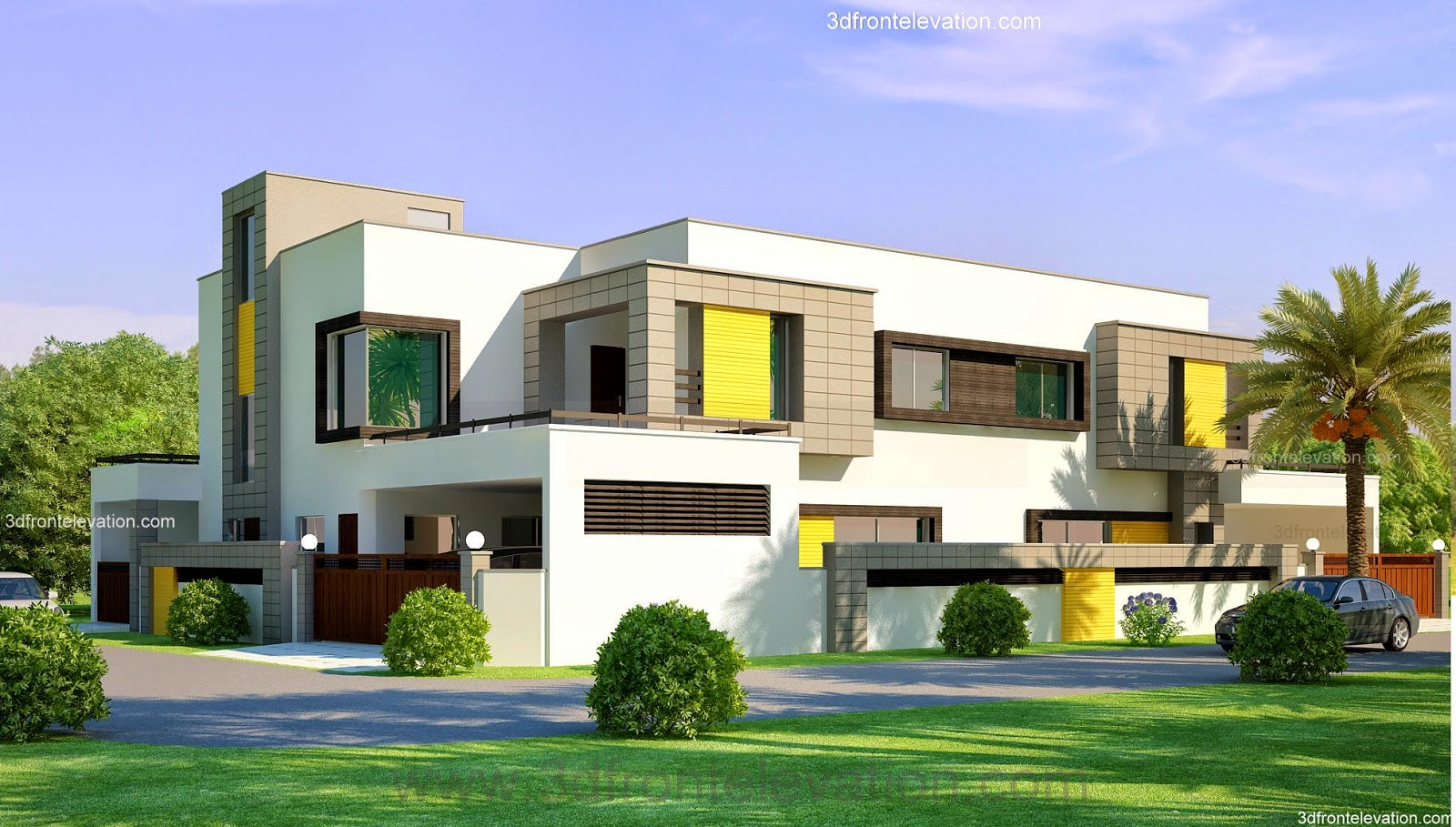 3d front 1 kanal corner plot 2 house for Beautiful house design