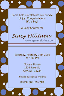 Polka Dot Blue Baby Boy Baby Shower Invitations