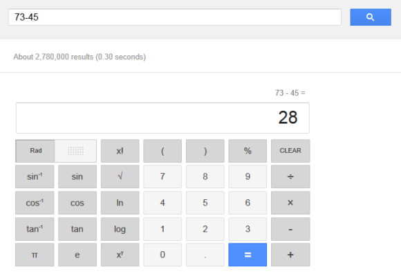 Interface Google Calculator