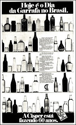 propaganda vidros Cisper; garrafas de vidro; potes de vidro; vidro; os anos 70; propaganda na década de 70; Brazil in the 70s, história anos 70; Oswaldo Hernandez;