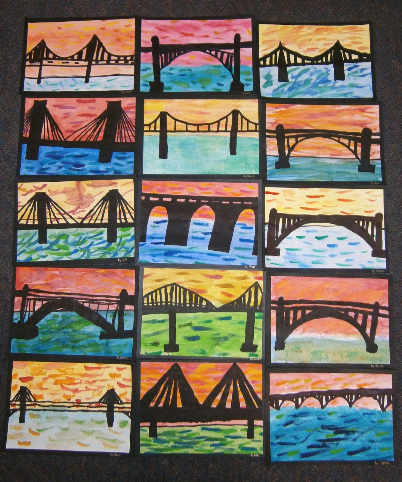 Art with mrs baker watercolour bridge silhouettes for Craft work for class 3