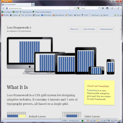 Screen shot of http://lessframework.com/.