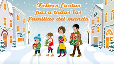 Postales de Navidad con mensaje felices fiestas para todas las familias del mundo