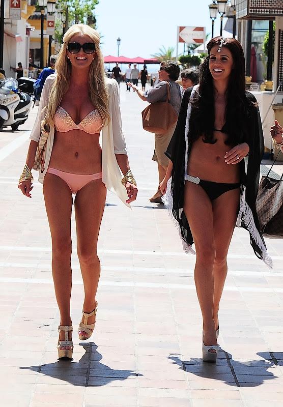 Danielle Lloyd wearing a black bikini
