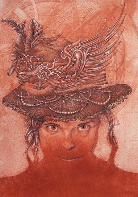 """A Hat that Stirred Her to the Top of Rapture"" : Red chalk, ink, sepia ink & dry pigment on handmade Khadi paper : 70cm x 50 cm : Copyright © 2013 by Martin Herbert"