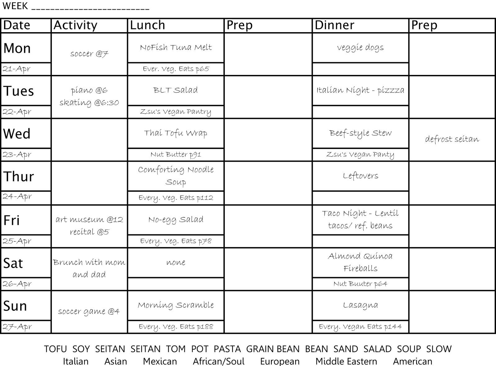 Zsus Vegan Pantry MENU PLANNING Menu General SAMPLE S Planning