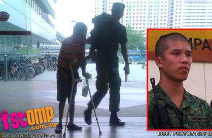 Recruit Dickson Phoon, a full-time national serviceman who helped a handicapped man settle down in a spot in Compass Point shopping mall before buying him a drink.