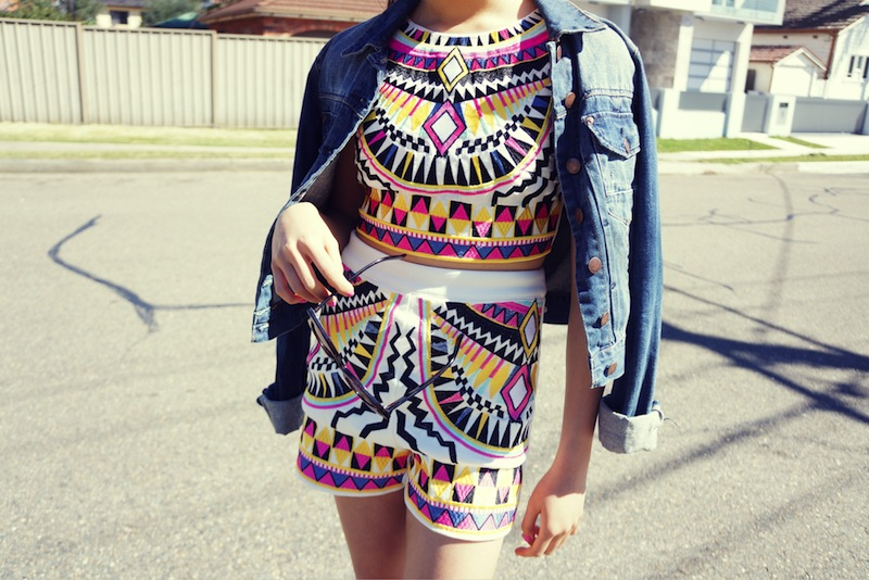 Missguided, aztec, Sass & Bide, Topshop, denim jacket, white flatforms, Windsor Smith
